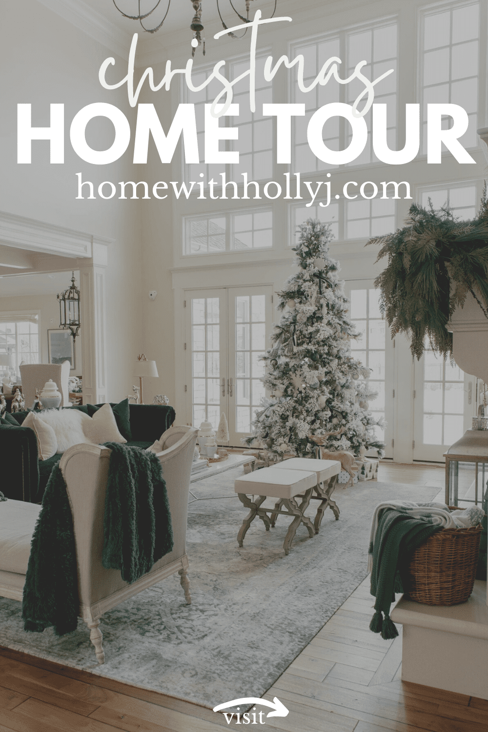 Click for a Christmas green & ivory home tour on Home with Holly J! Best Christmas decor ideas for the home diy vases. Style Christmas tablescapes table centerpieces. Simple Christmas living room decorations & Christmas mantel ideas. Learn how to style Christmas decor. Cute Christmas ideas decorating winter table. Awesome Christmas decorating ideas for the table. Christmas farmhouse decorations & Christmas home decor elegant is the best. Cute ivory christmas decorations. #home #Christmas