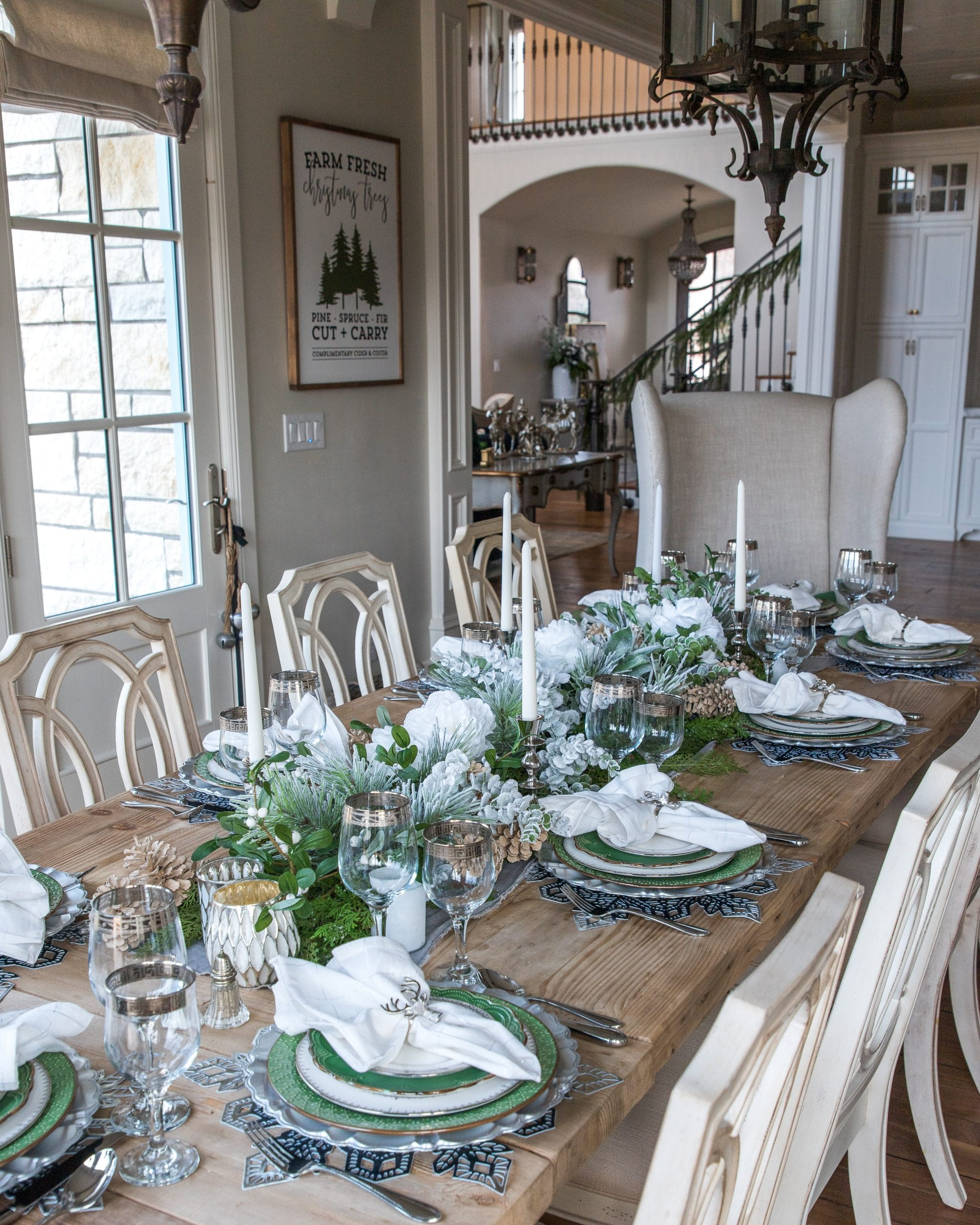 white silver and green tablescape