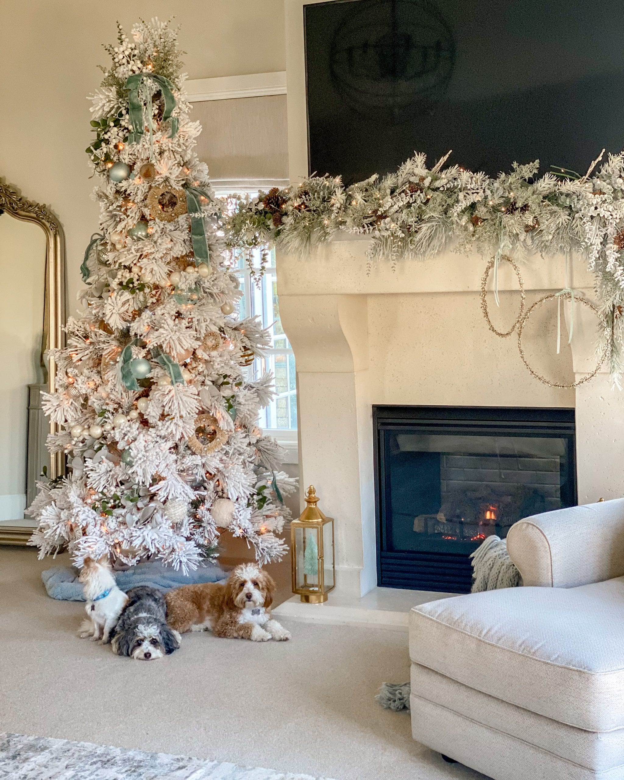 teal and white flocked tree