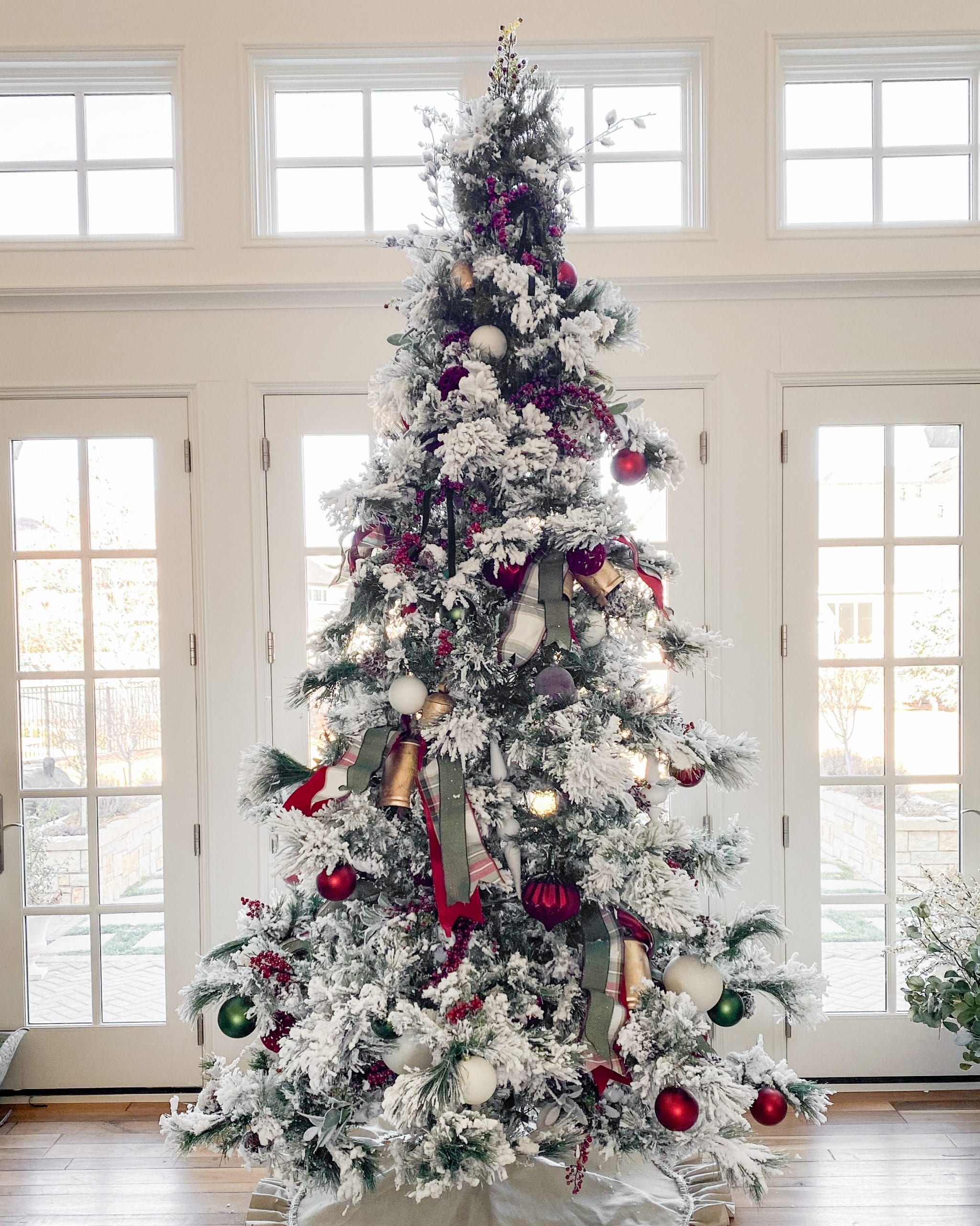 red green white christmas tree decor