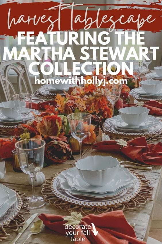 Click here to see this Harvest Tablescape Featuring the Martha Stewart Collection on Home with Holly J! Check out this festive harvest decorations table center pieces. This is beautiful harvest decorations table dining rooms. This harvest table dining room farmhouse decor is a show stopper on Thanksgiving. You can shop this harvest tablescape autumn centerpieces by Martha Stewart at Nordstrom. Awesome thanksgiving decorations table setting elegant. #harvest #thanksgiving #holidays #ad