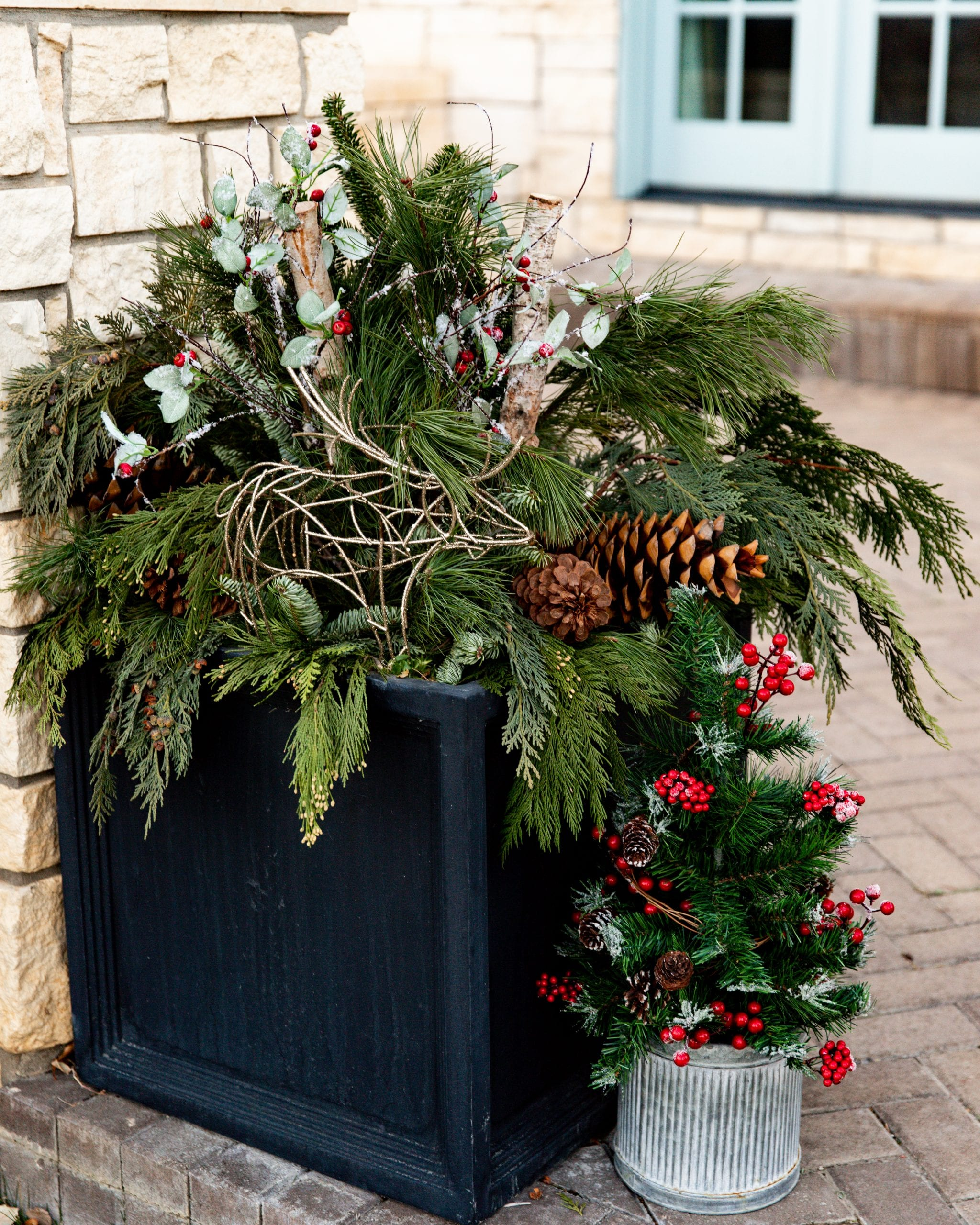 winer greenery flower pot styling