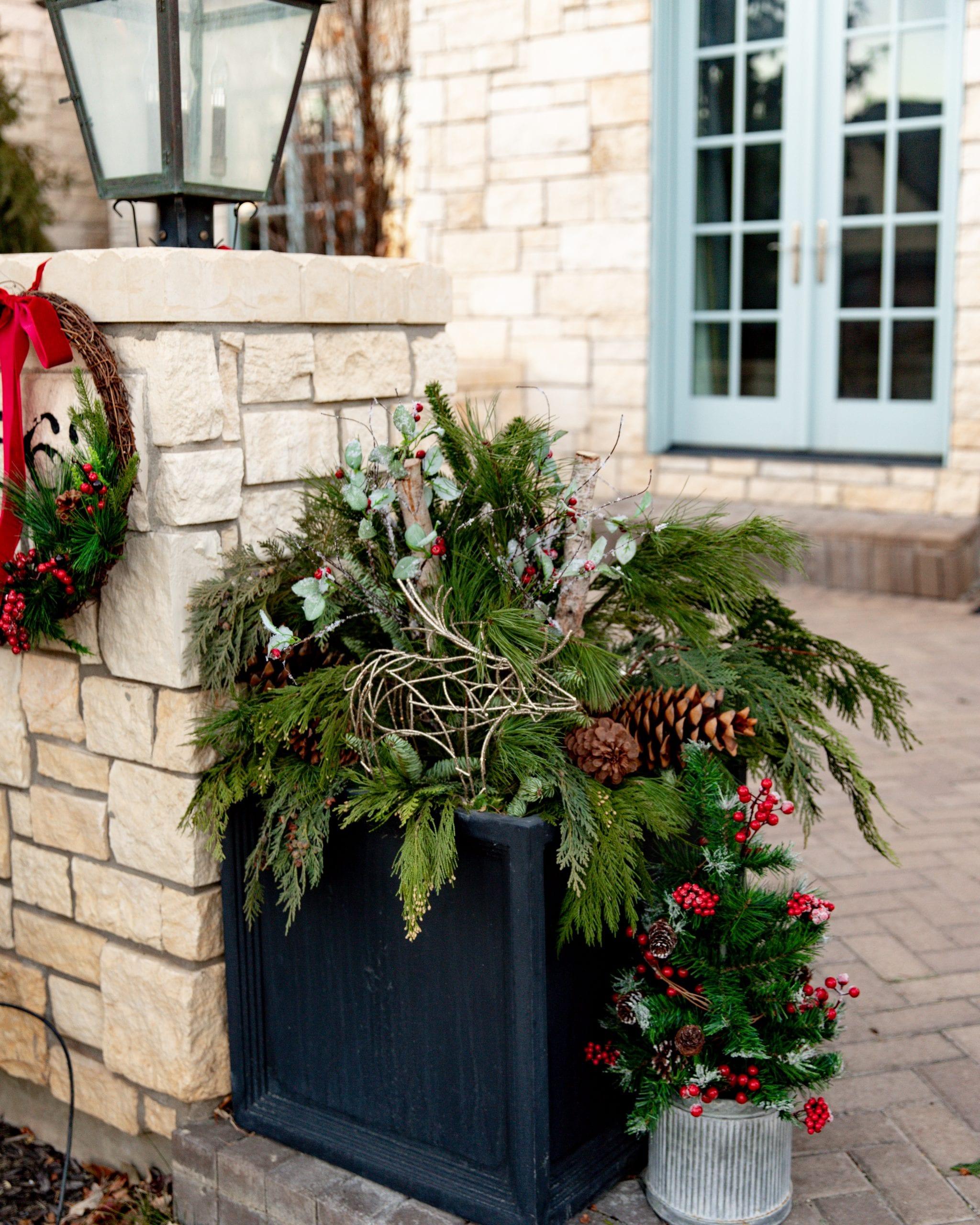 winter greenery flower pots
