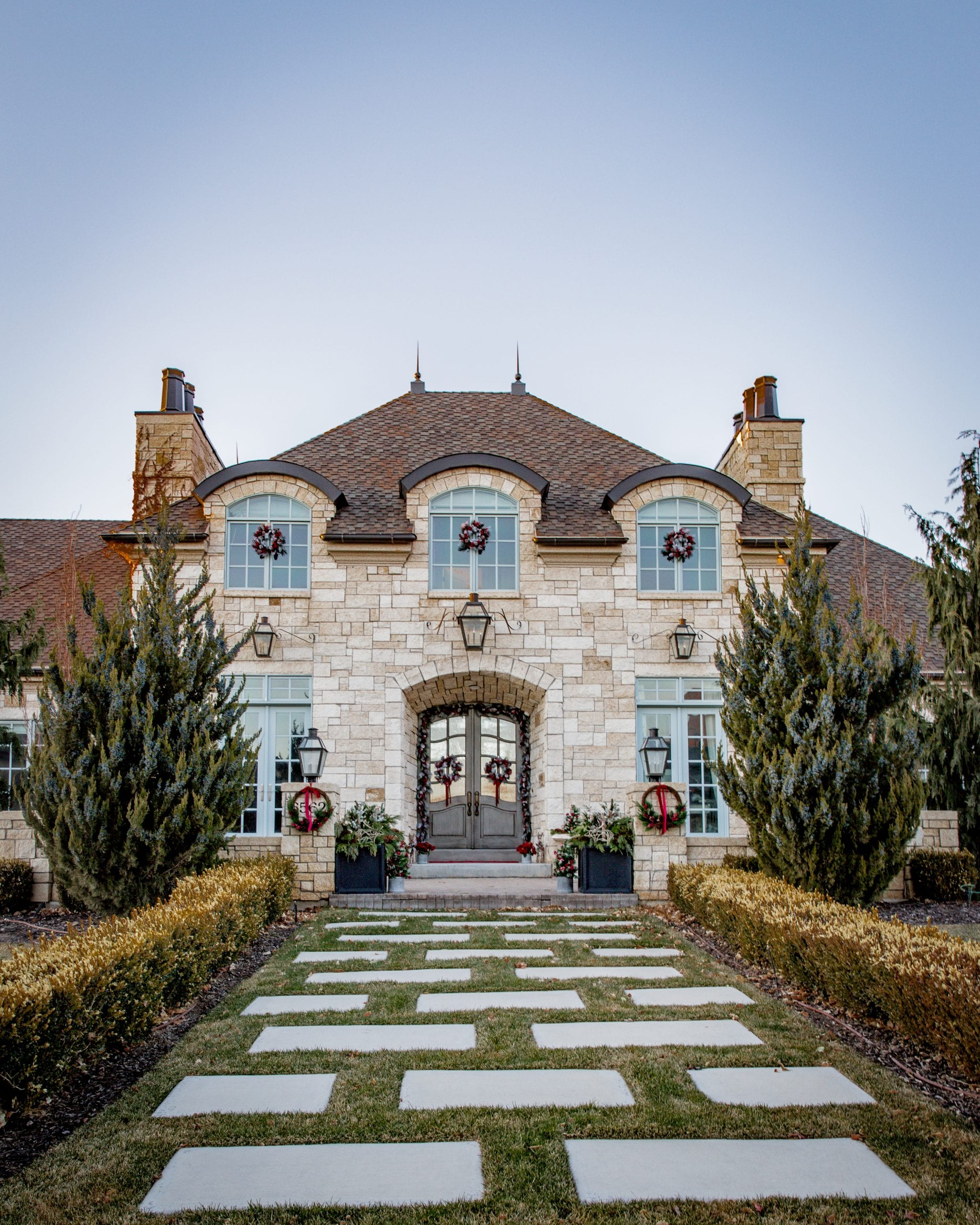 French country decorated for christmas