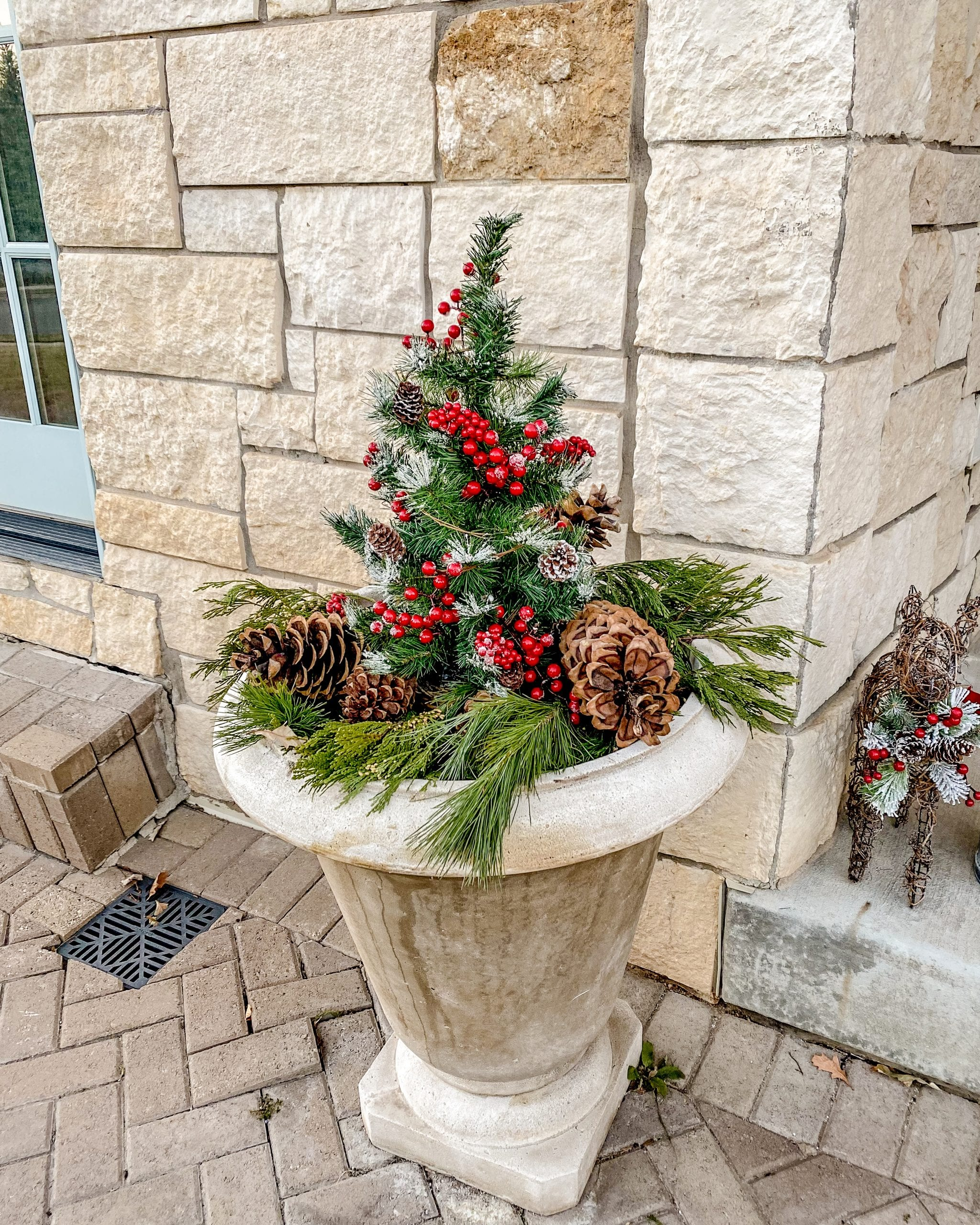 front porch christmas pots greenery