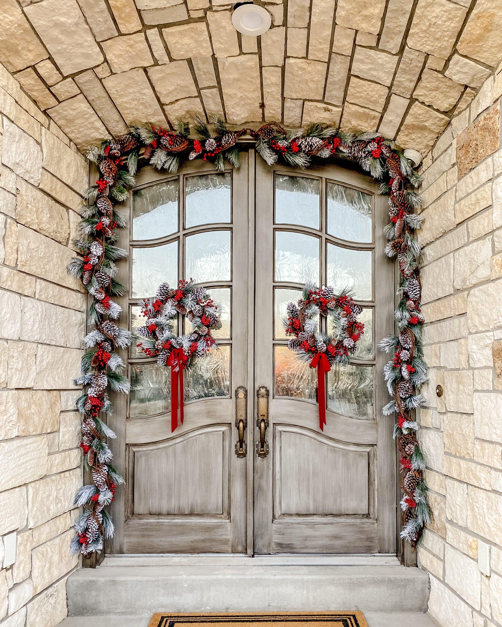 front doors porch christmas decor garland wreaths