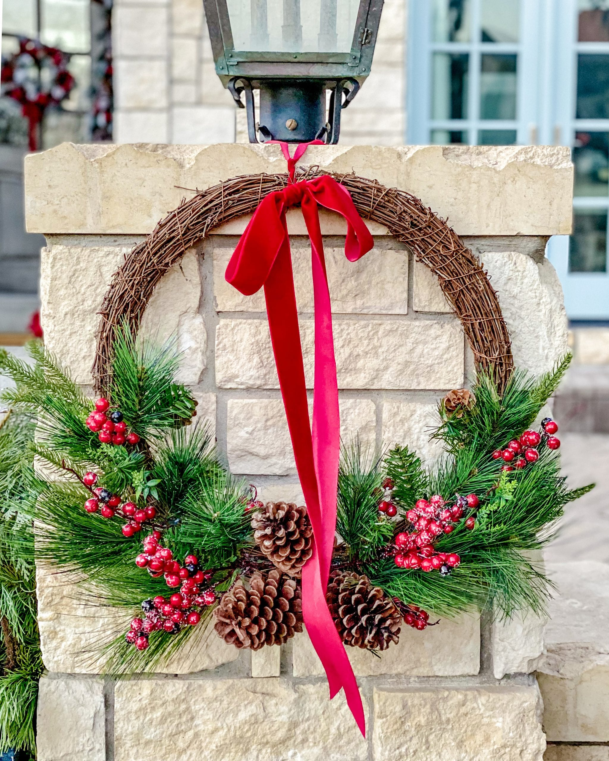 front porch wreath christmas