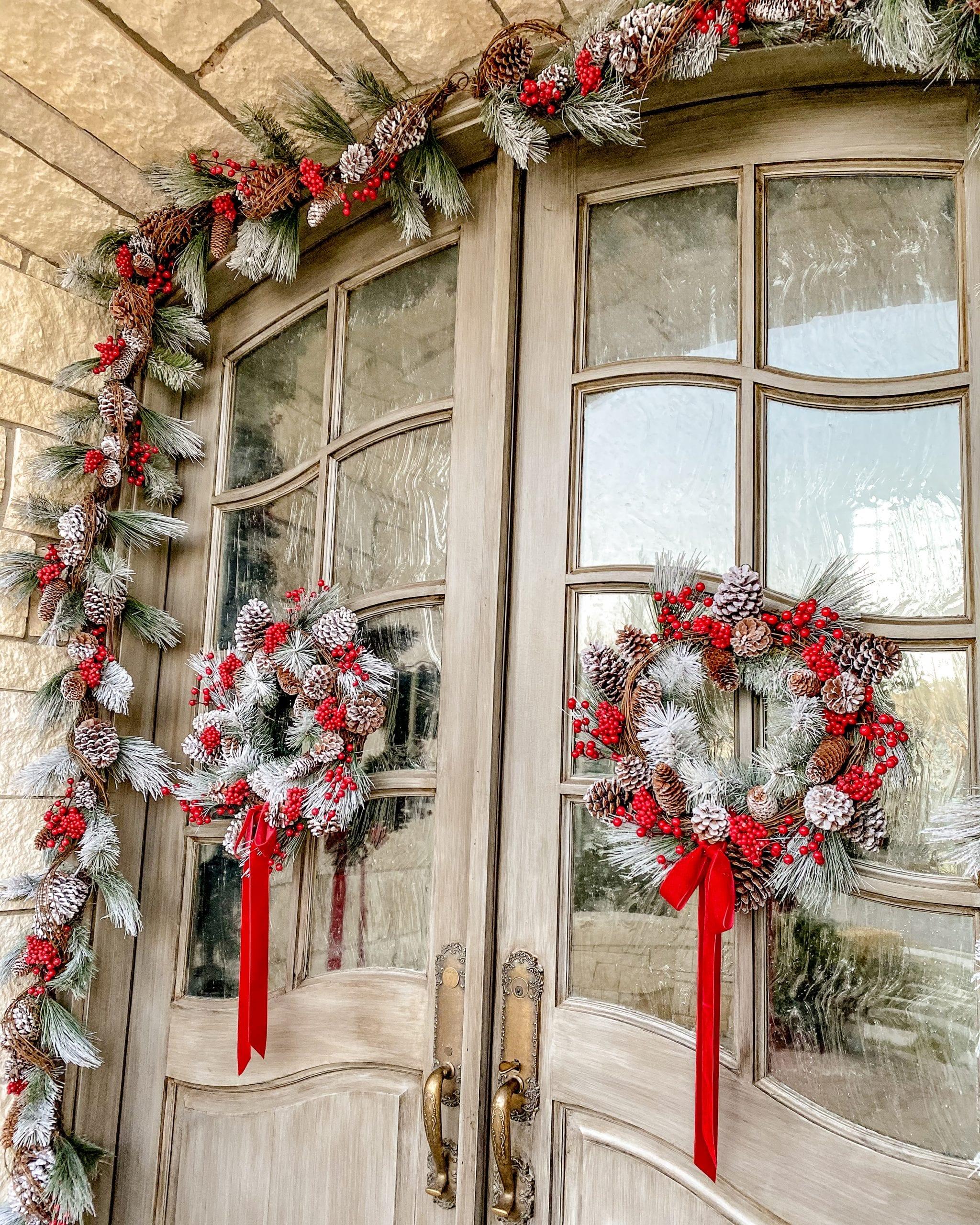 garland front porch door decor