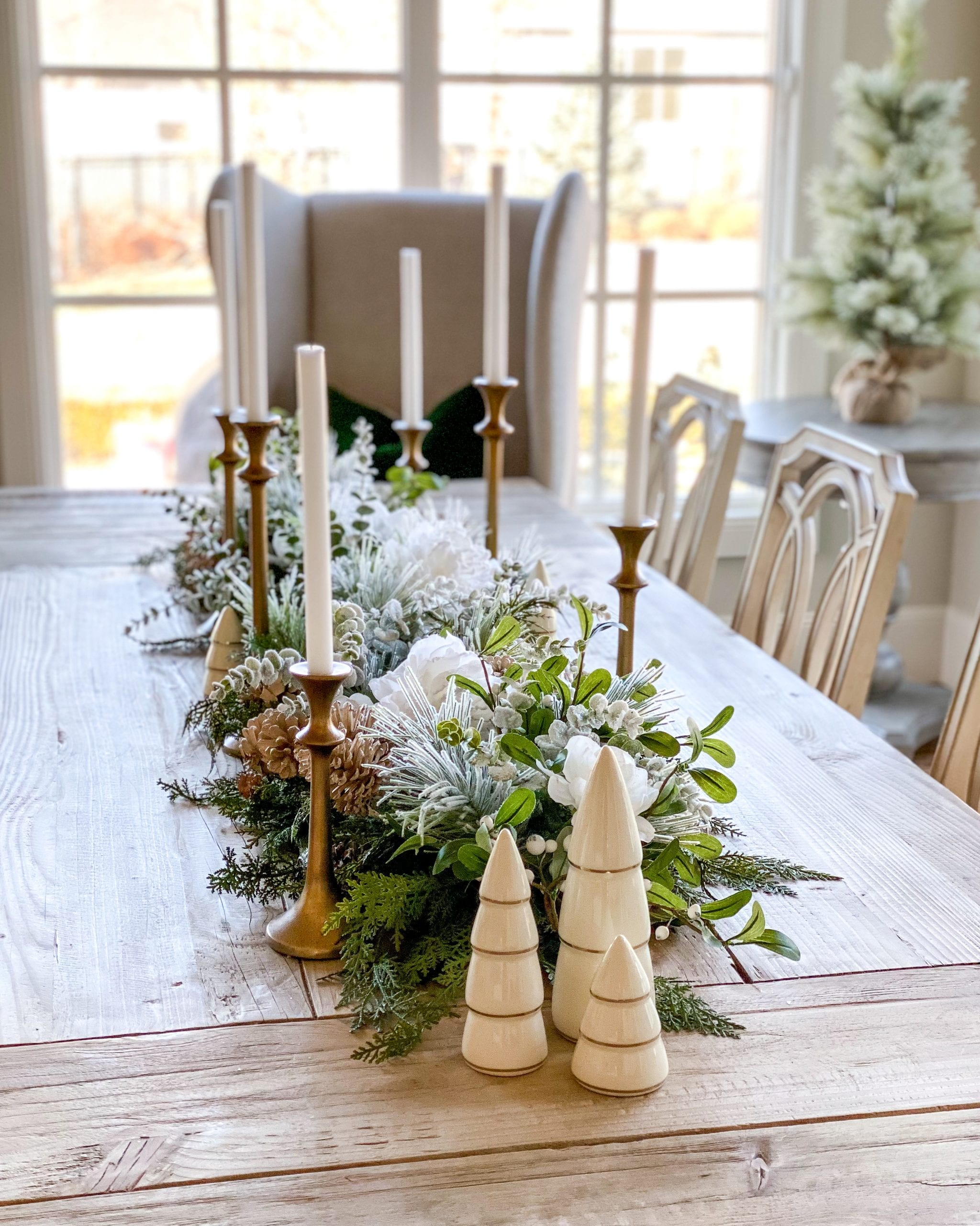 gold candlesticks winter table centerpiece wintery woods tree figurines