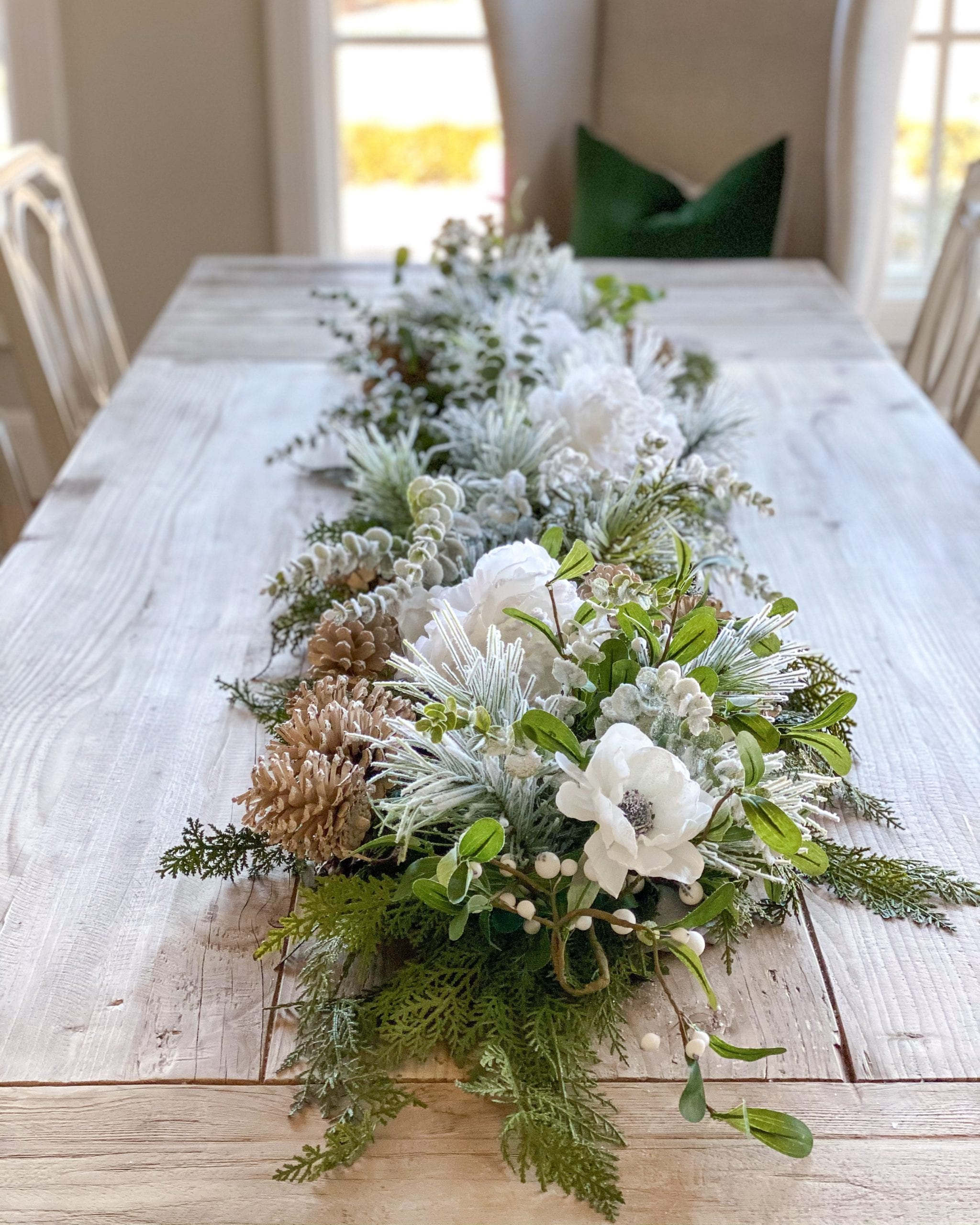 winter garland table centerpiece