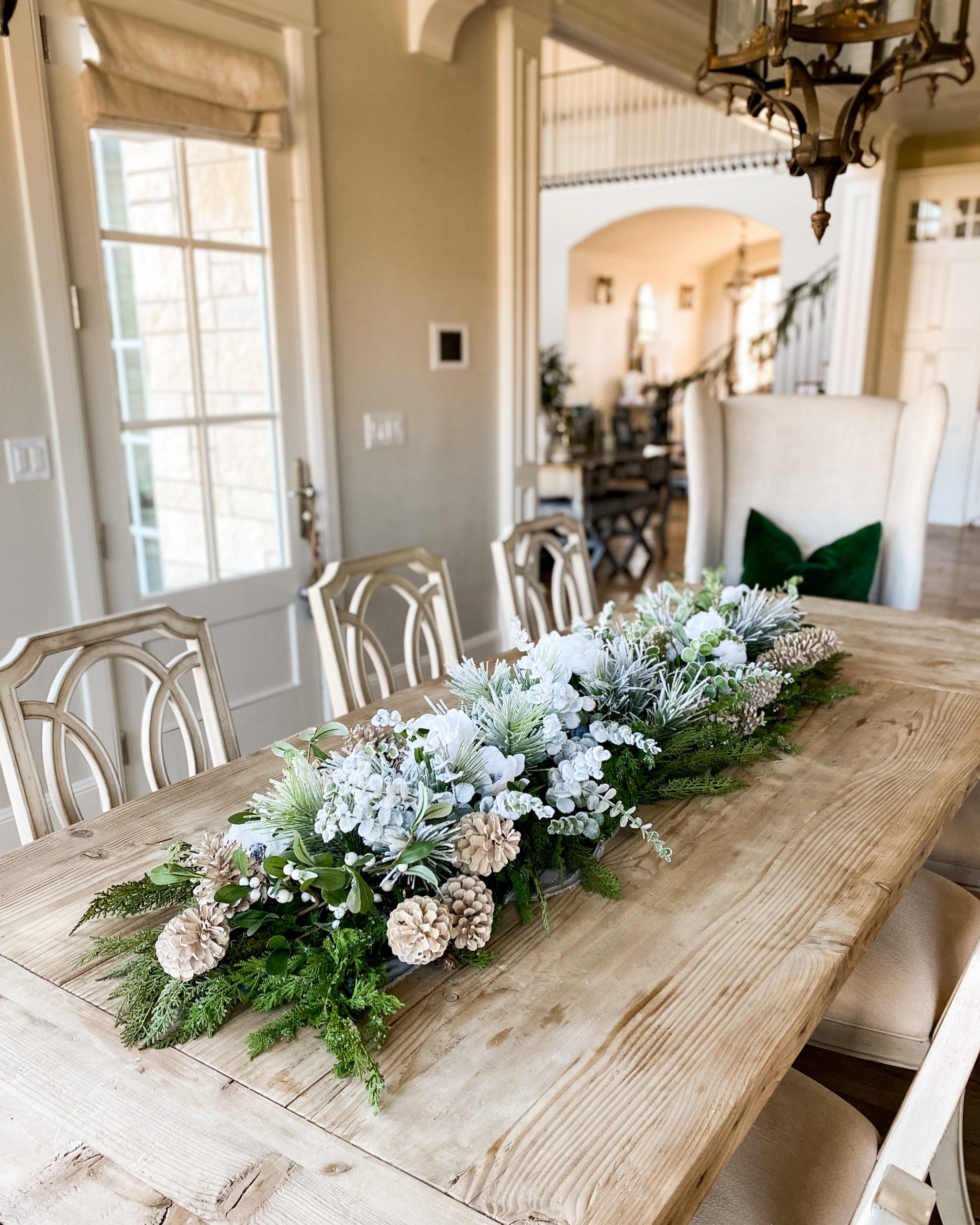 wintery table garland centerpiece