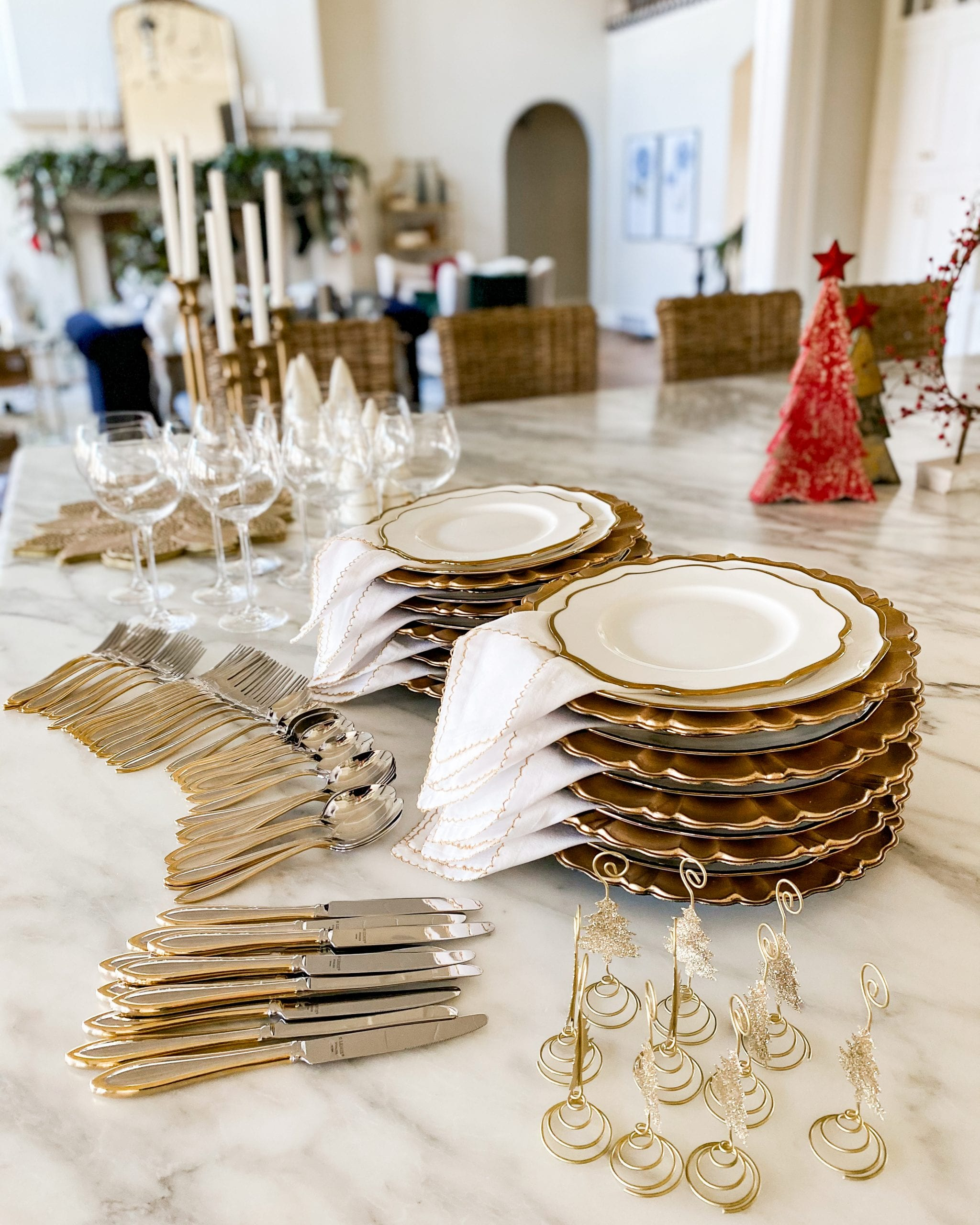 prepping for the tablescape