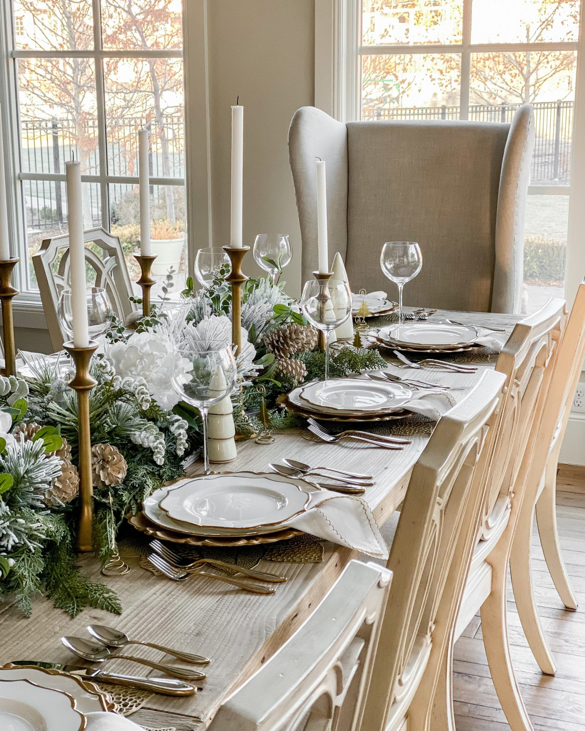 Lenox silver and gold tablescape place-setting