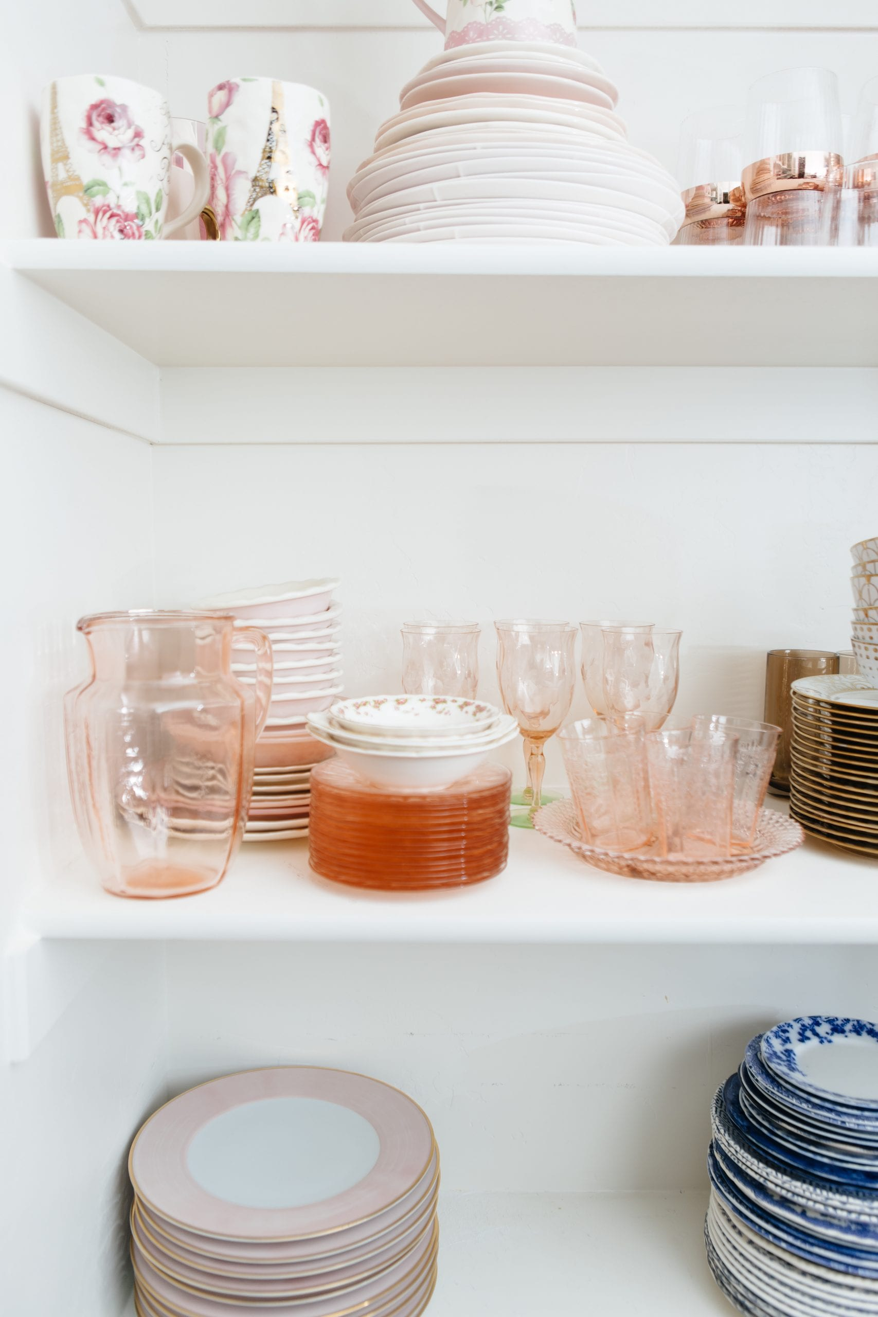 antique pink dishes