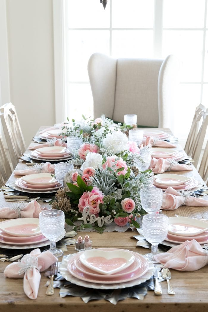 Pink Hearts Valentines Day Tablescape