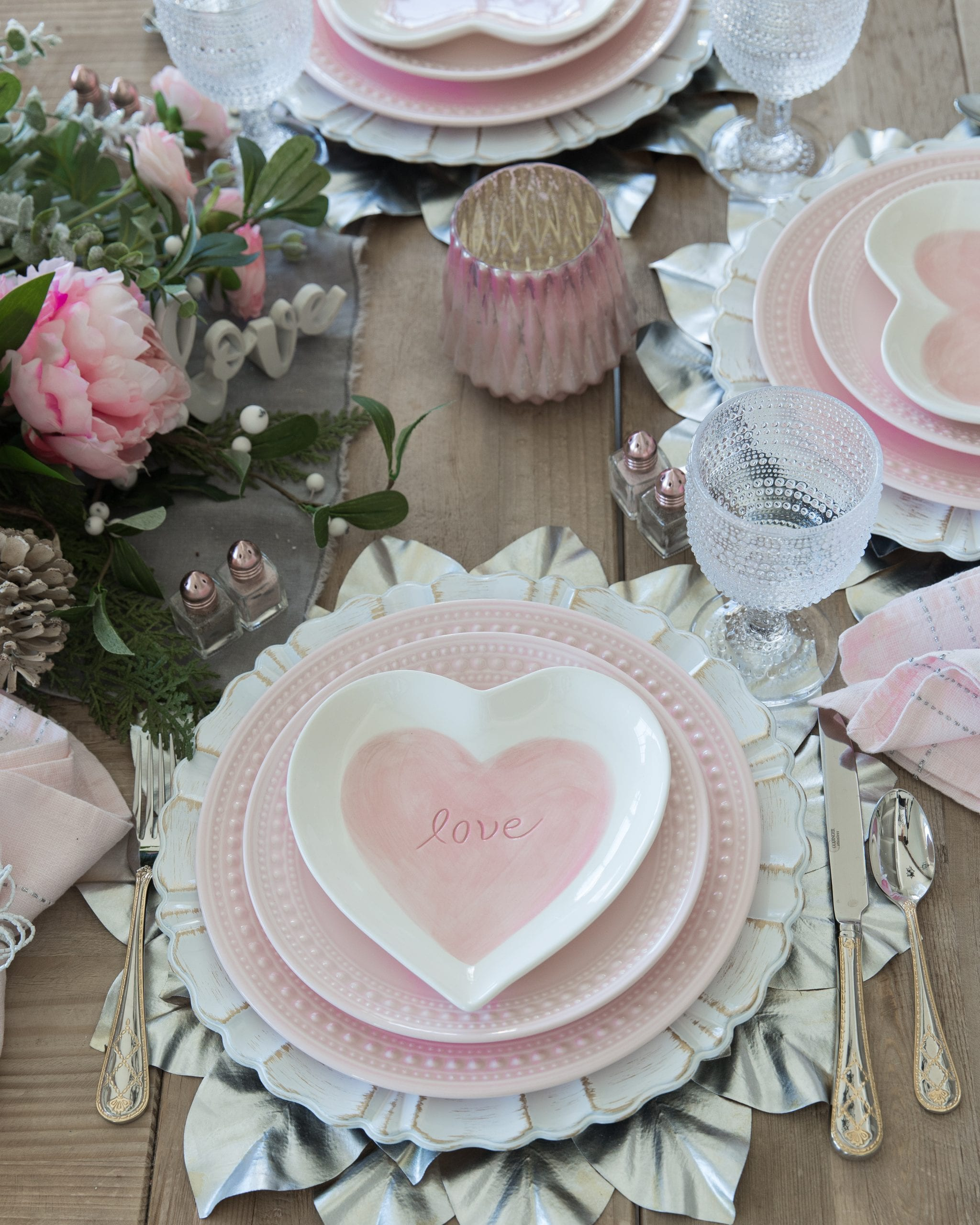 pink heart table setting valentines day decor