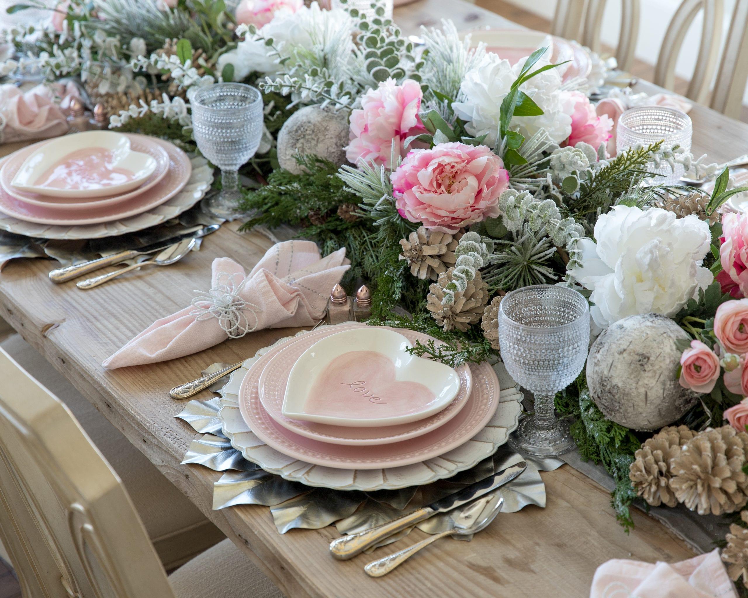 pink winter garland centerpiece