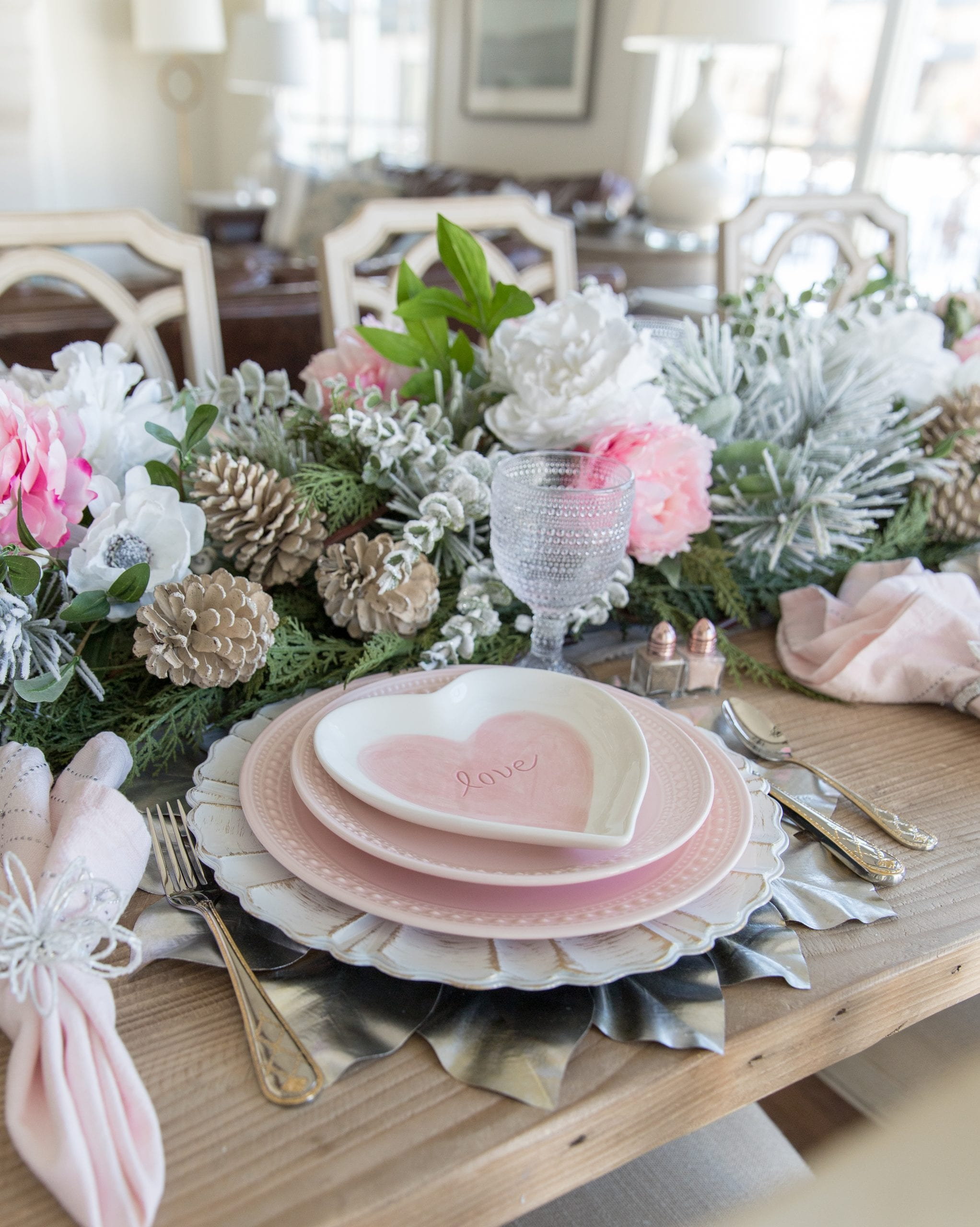 pink and white valentines table