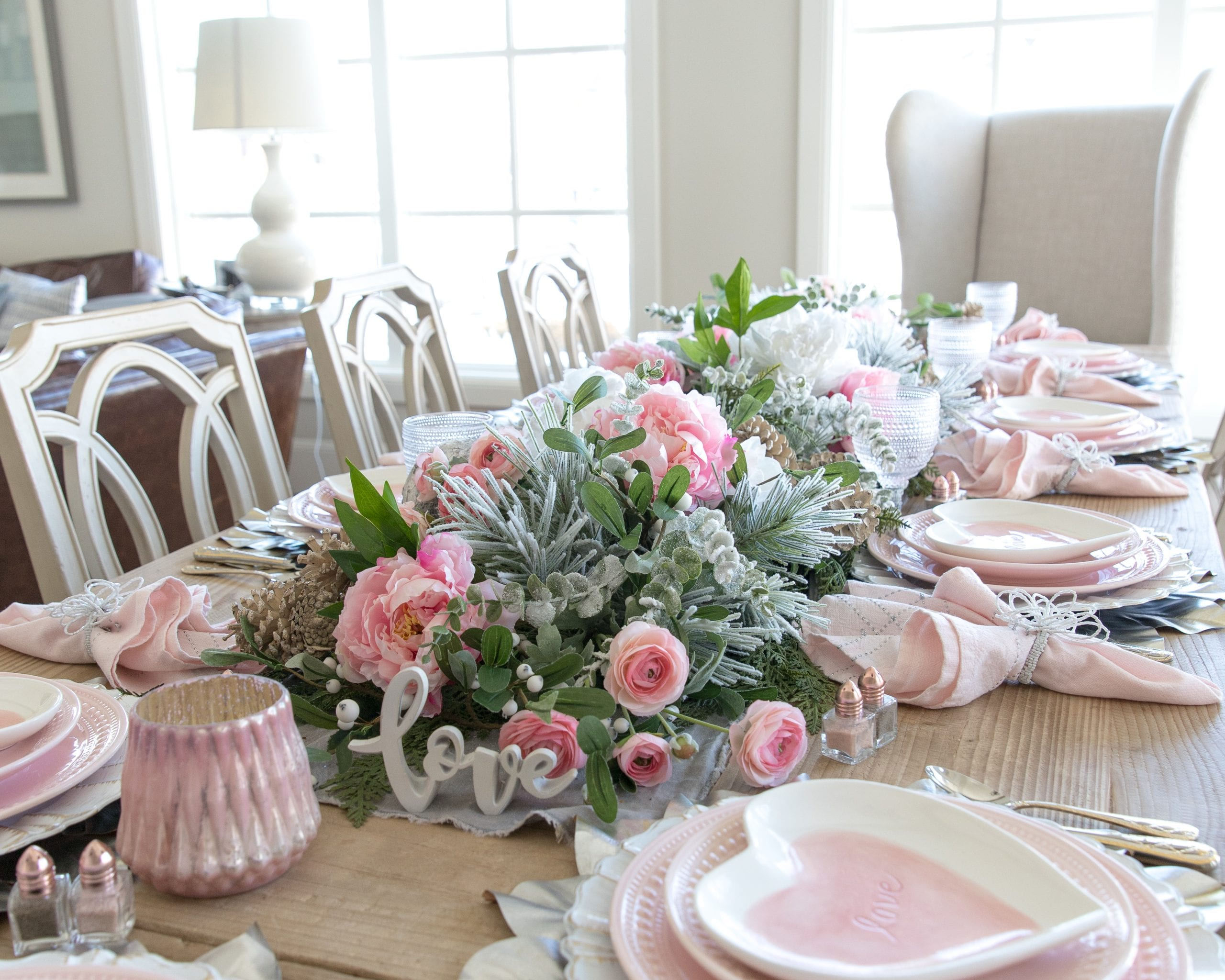 Pink heart dishes table setting
