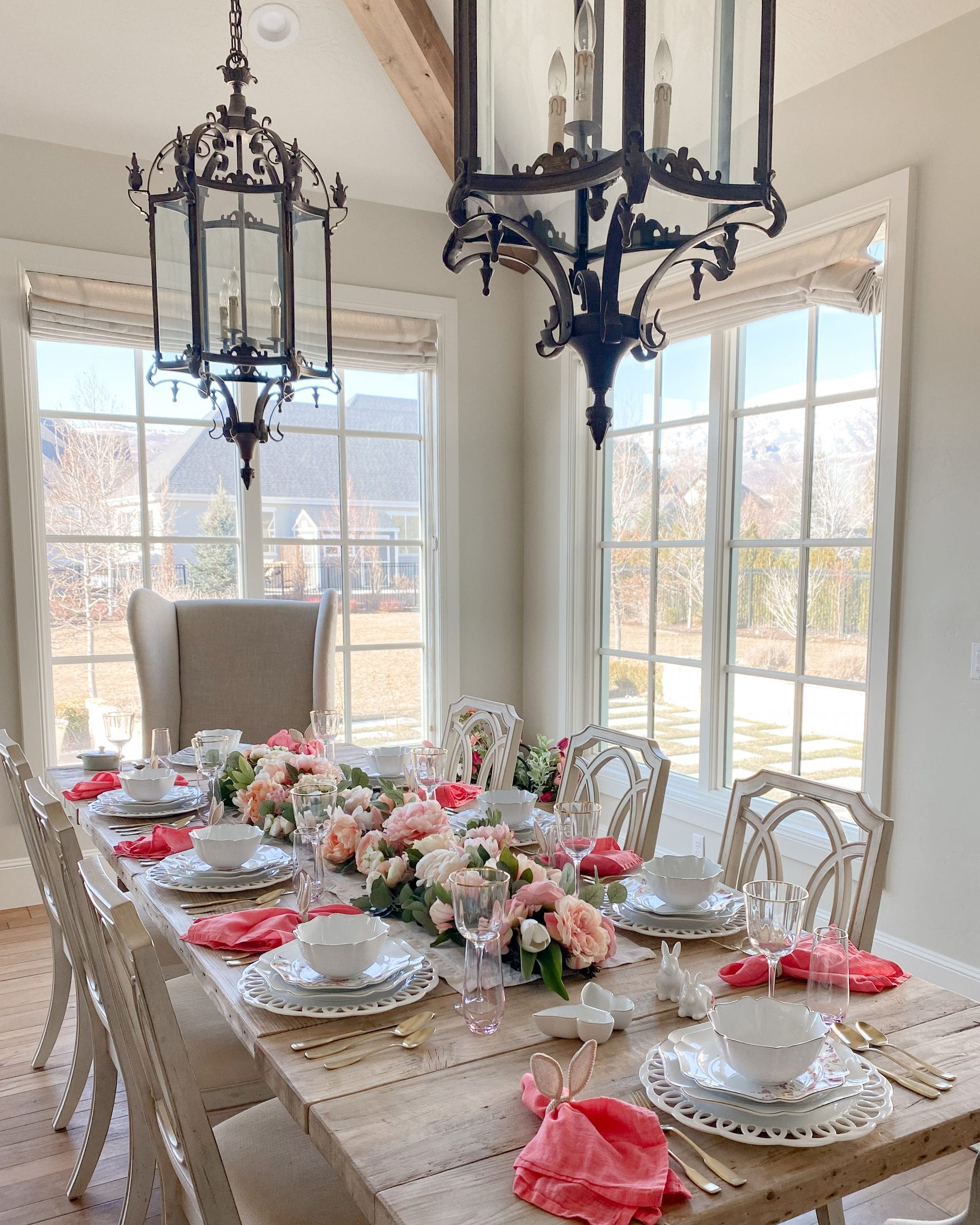 spring easter tablescape