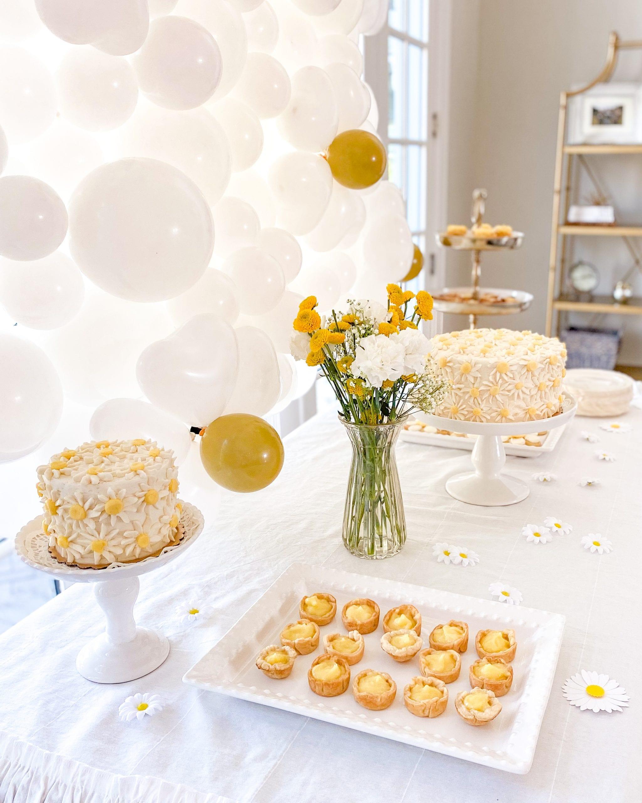 daisy themed dessert table
