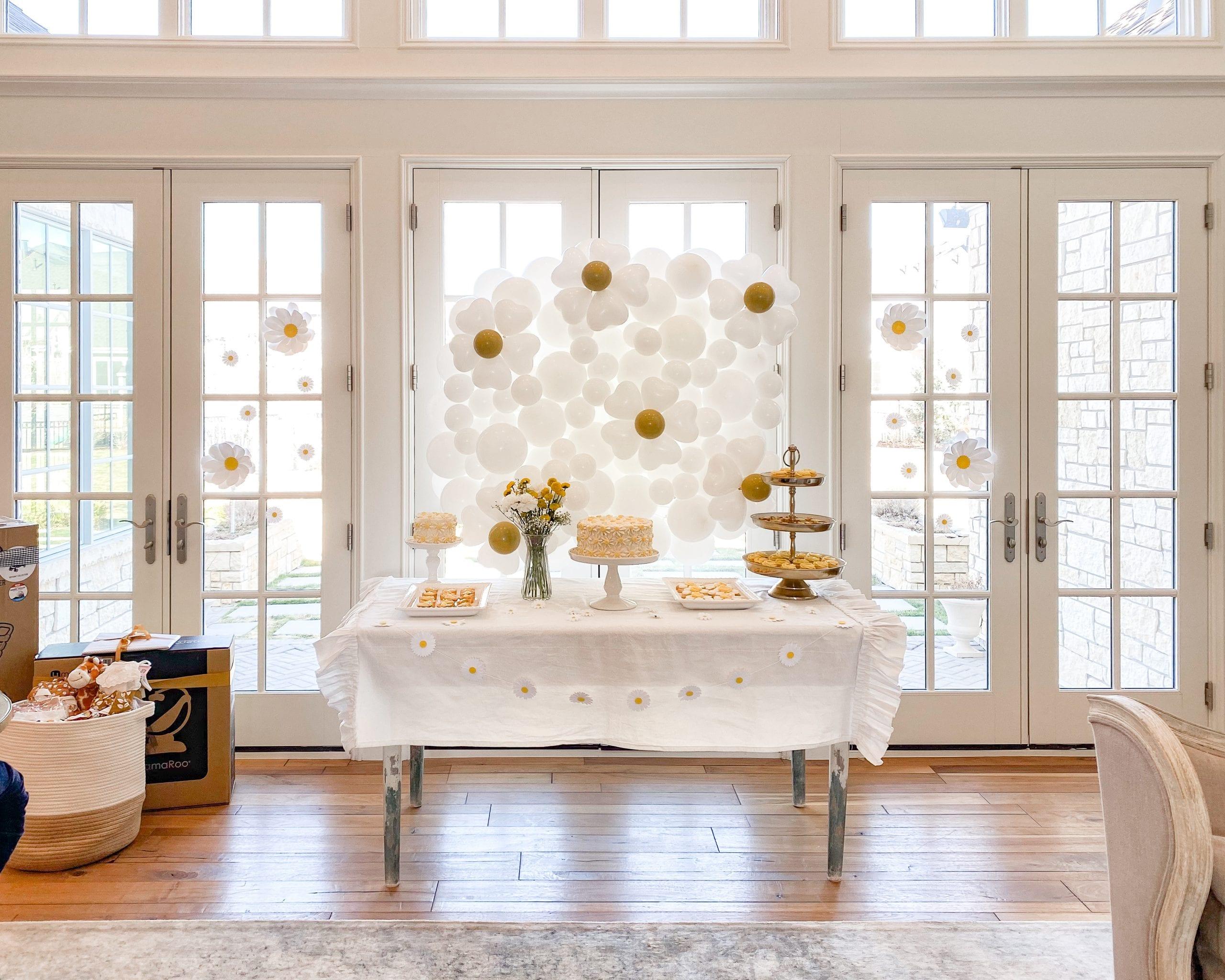 daisy themed baby brunch dessert table