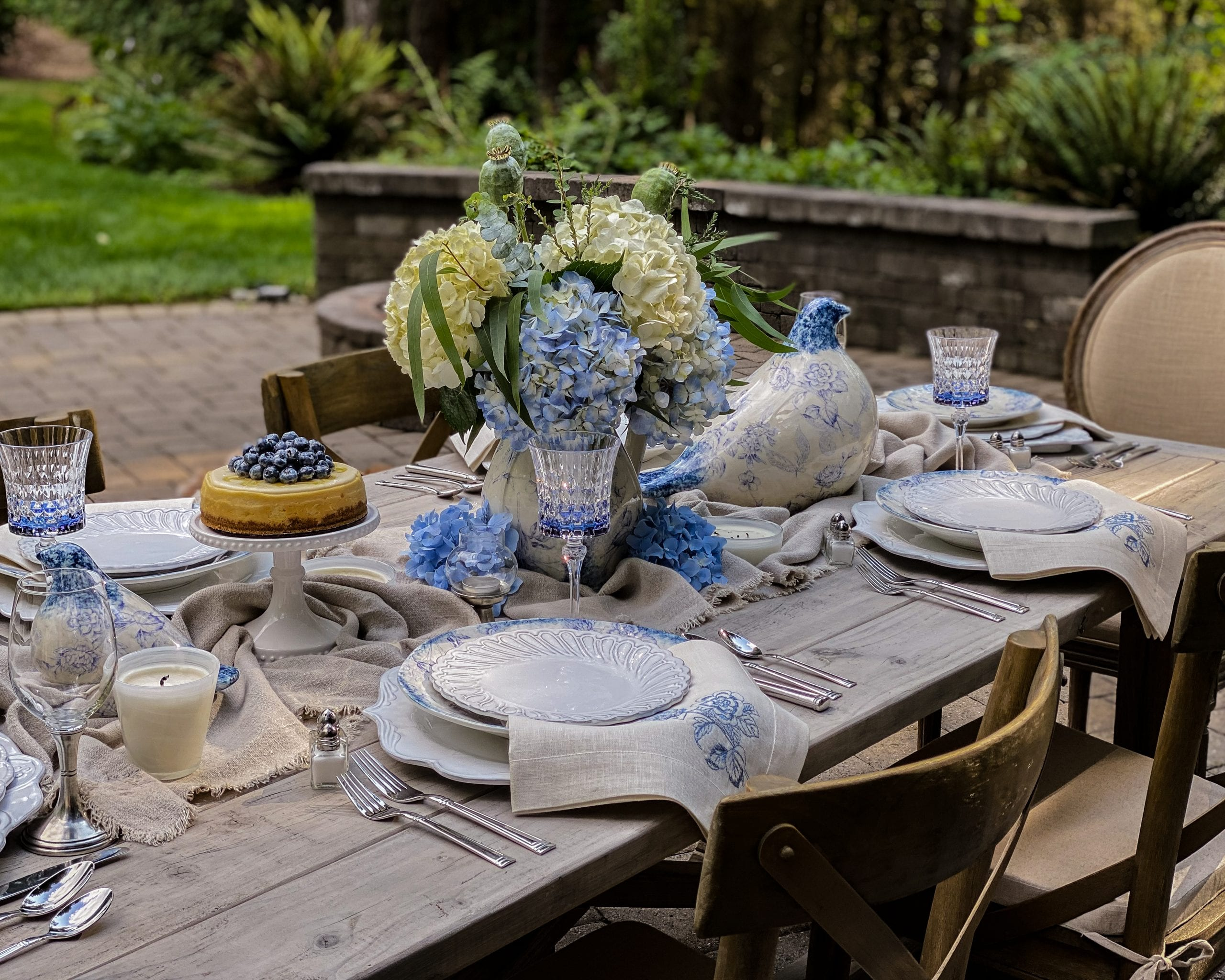 outdoor blue and white spring dining table