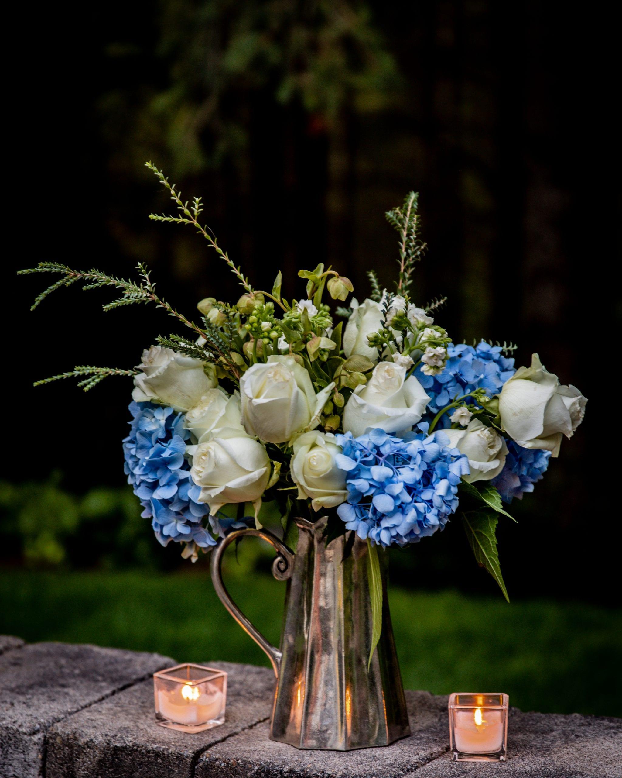 pewter vase pitcher hydrangeas roses