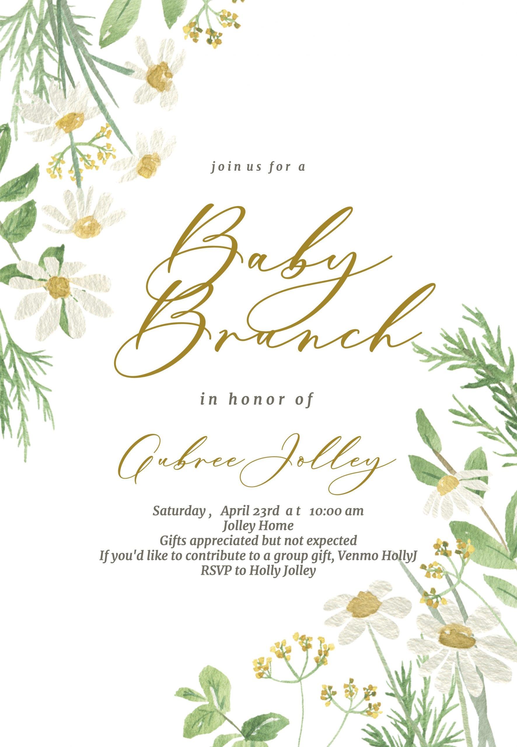 baby brunch daisy invitation