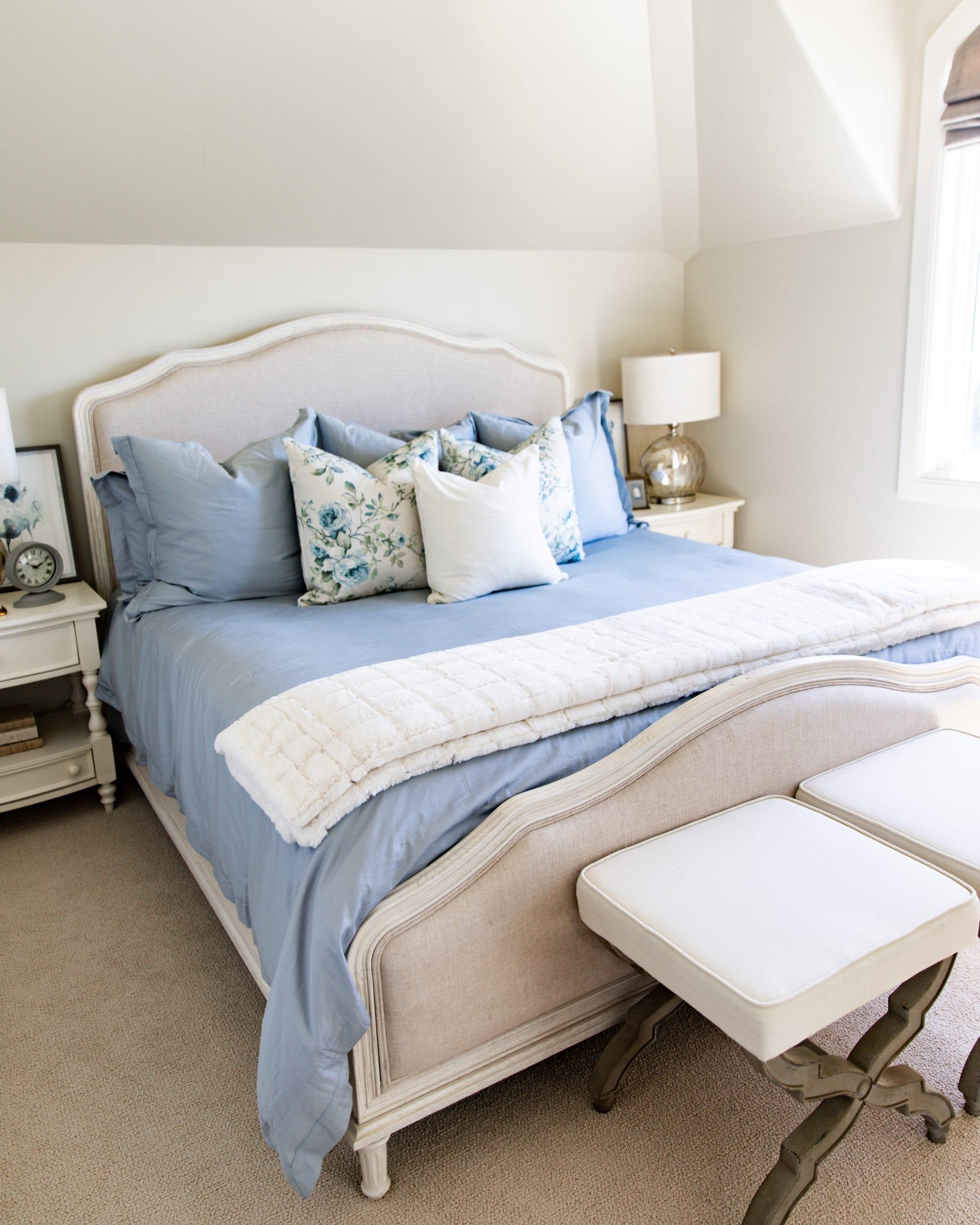 light blue guest room