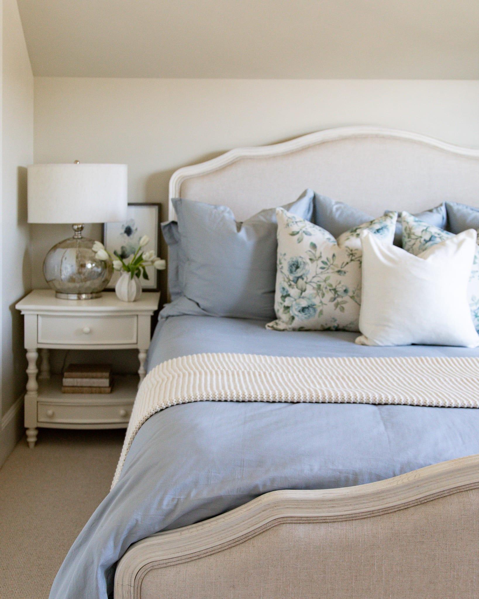 light blue bedding