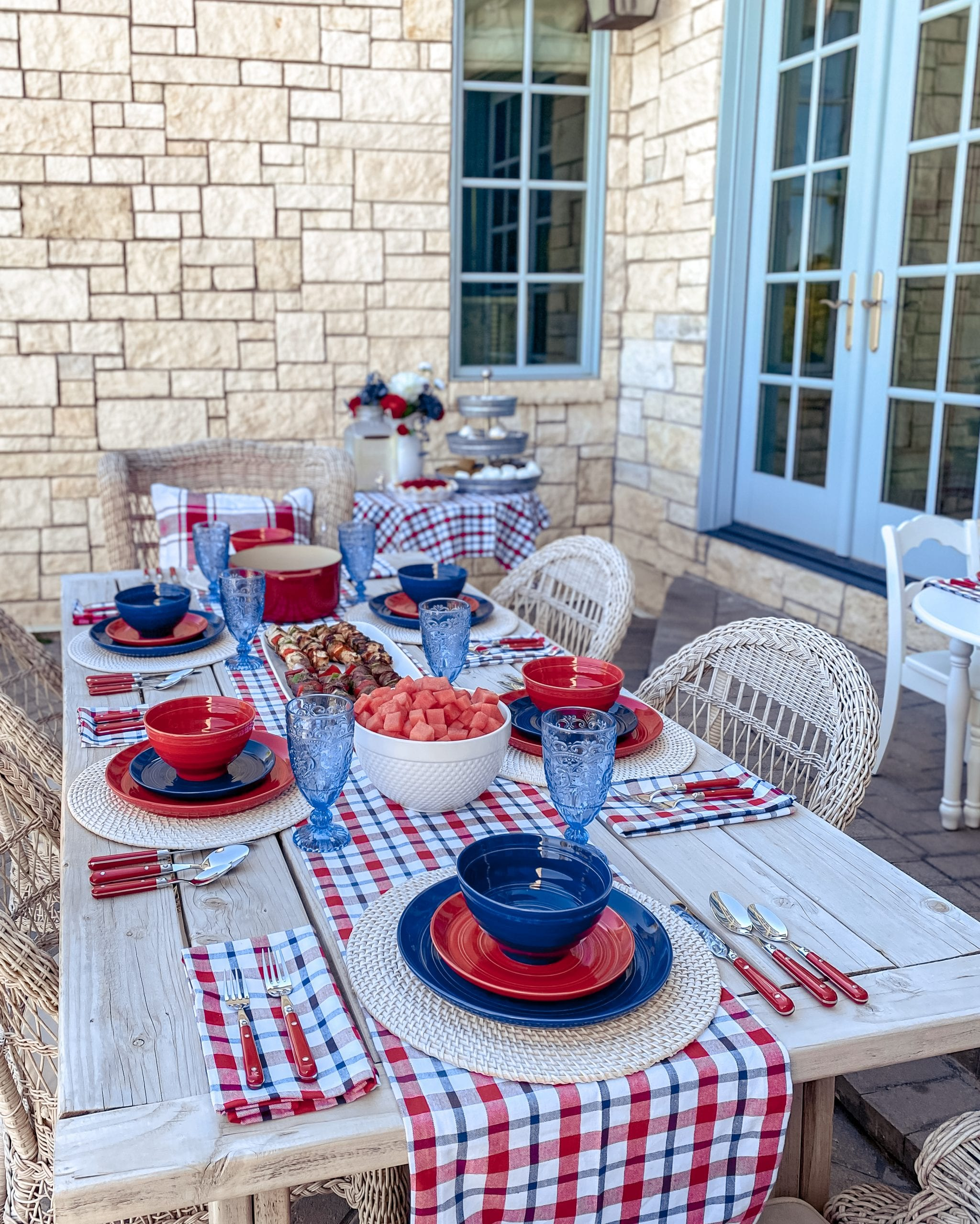 red white blue fourth of July table