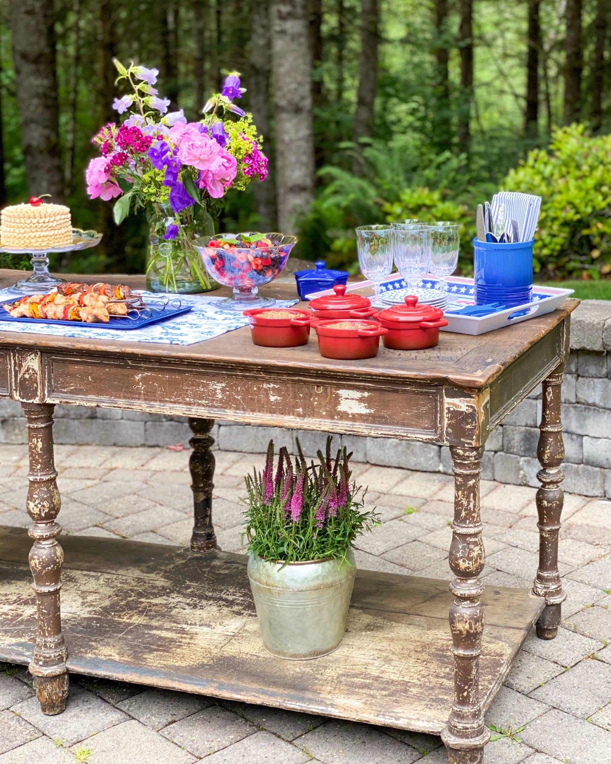 flower pots under table