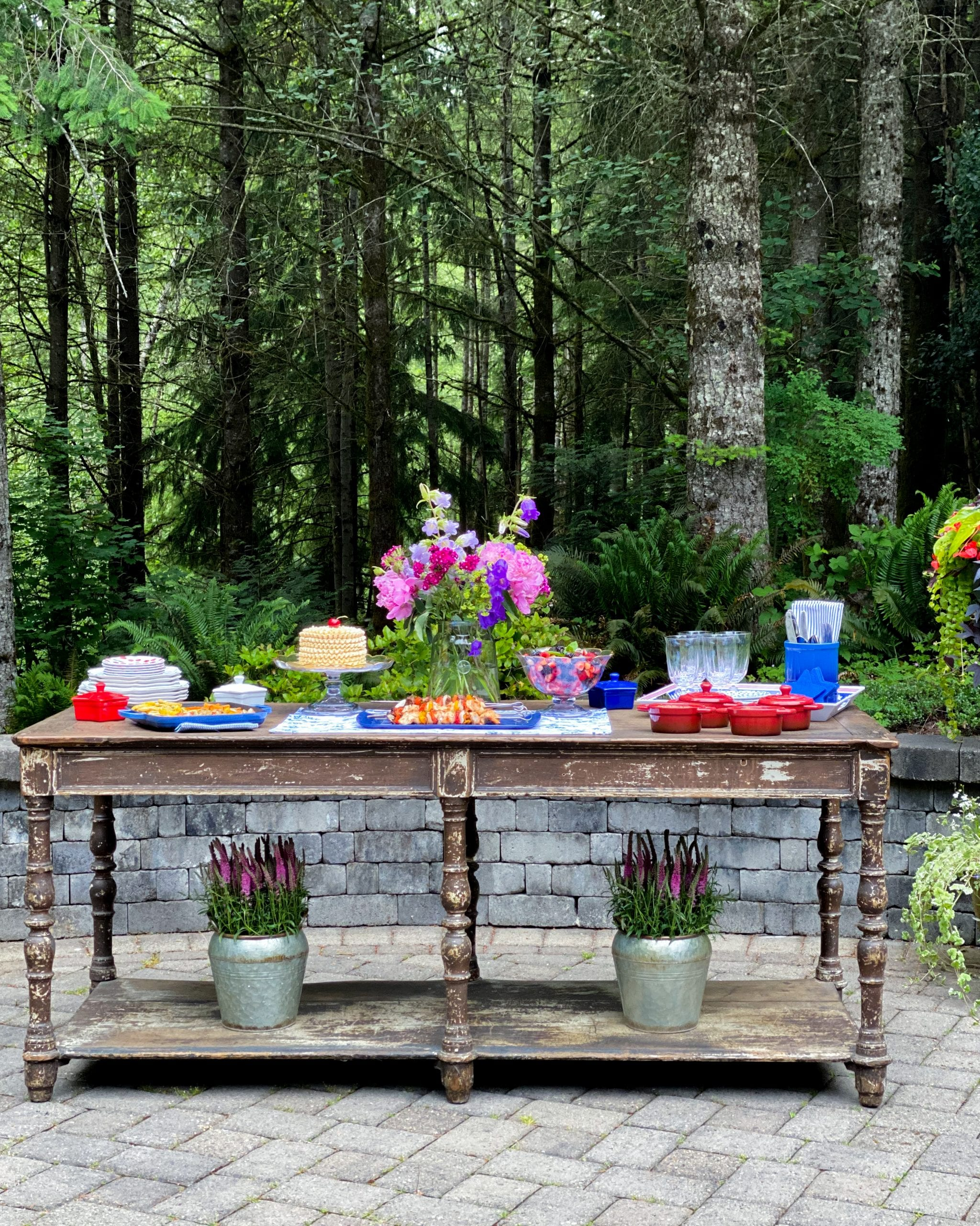 outdoor serving table