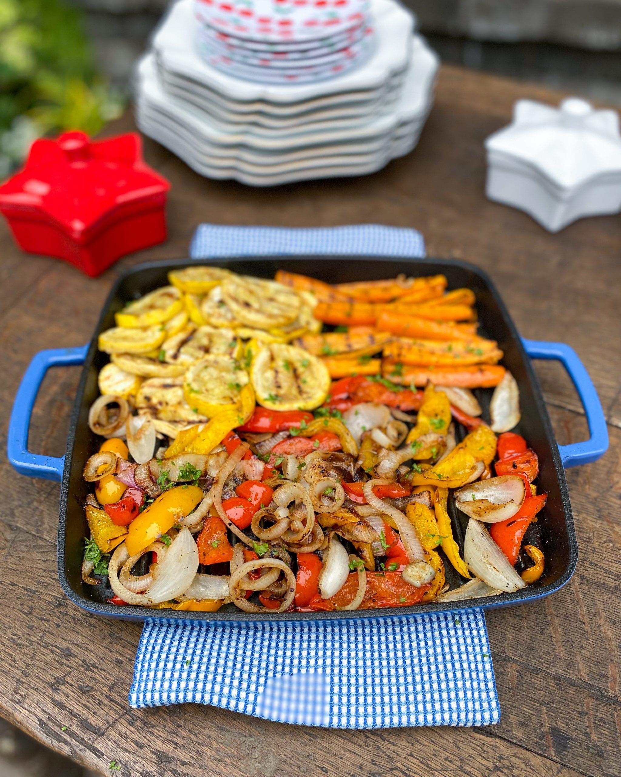 cast iron grill pan veggies