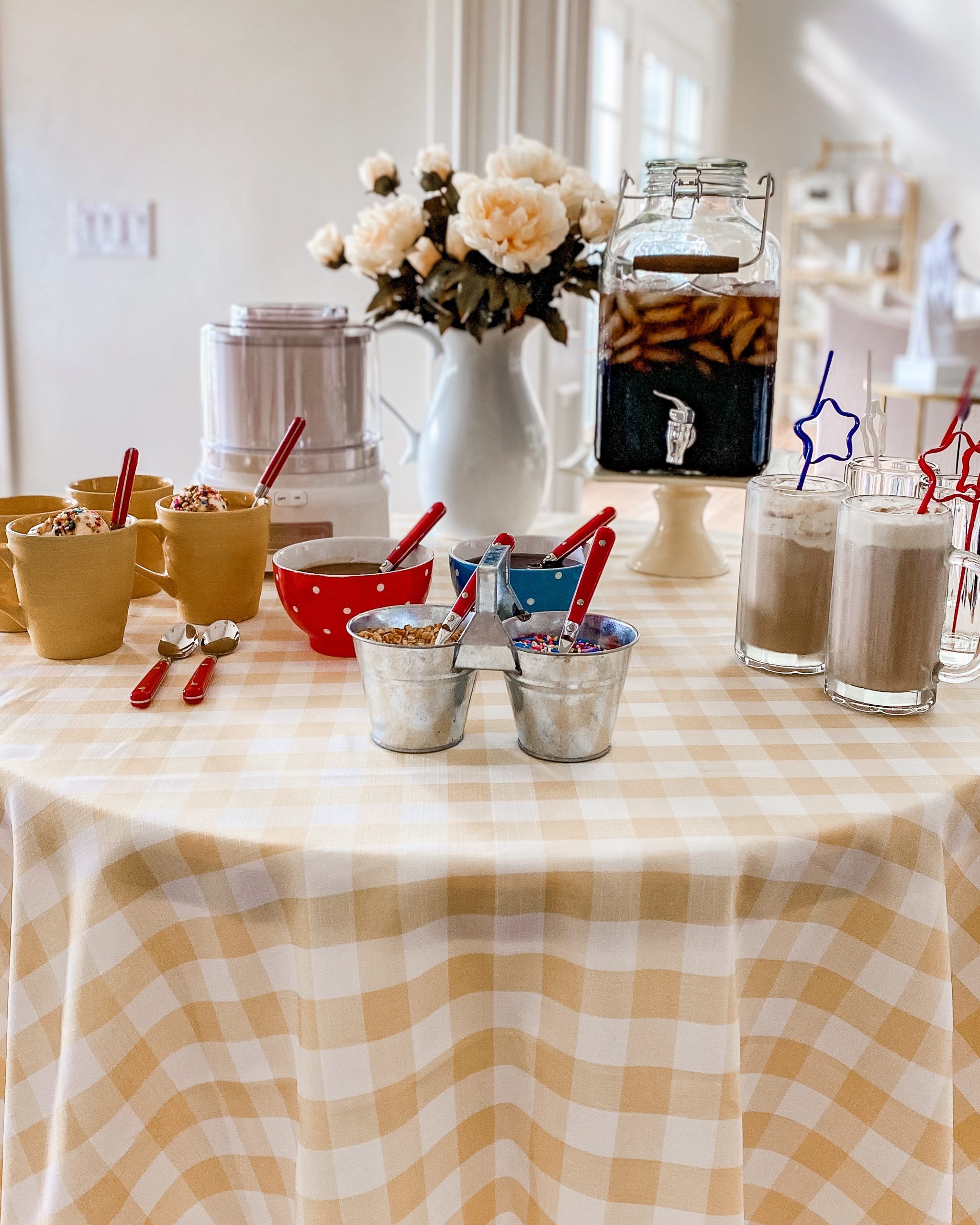dessert party table ice cream maker root beer floats