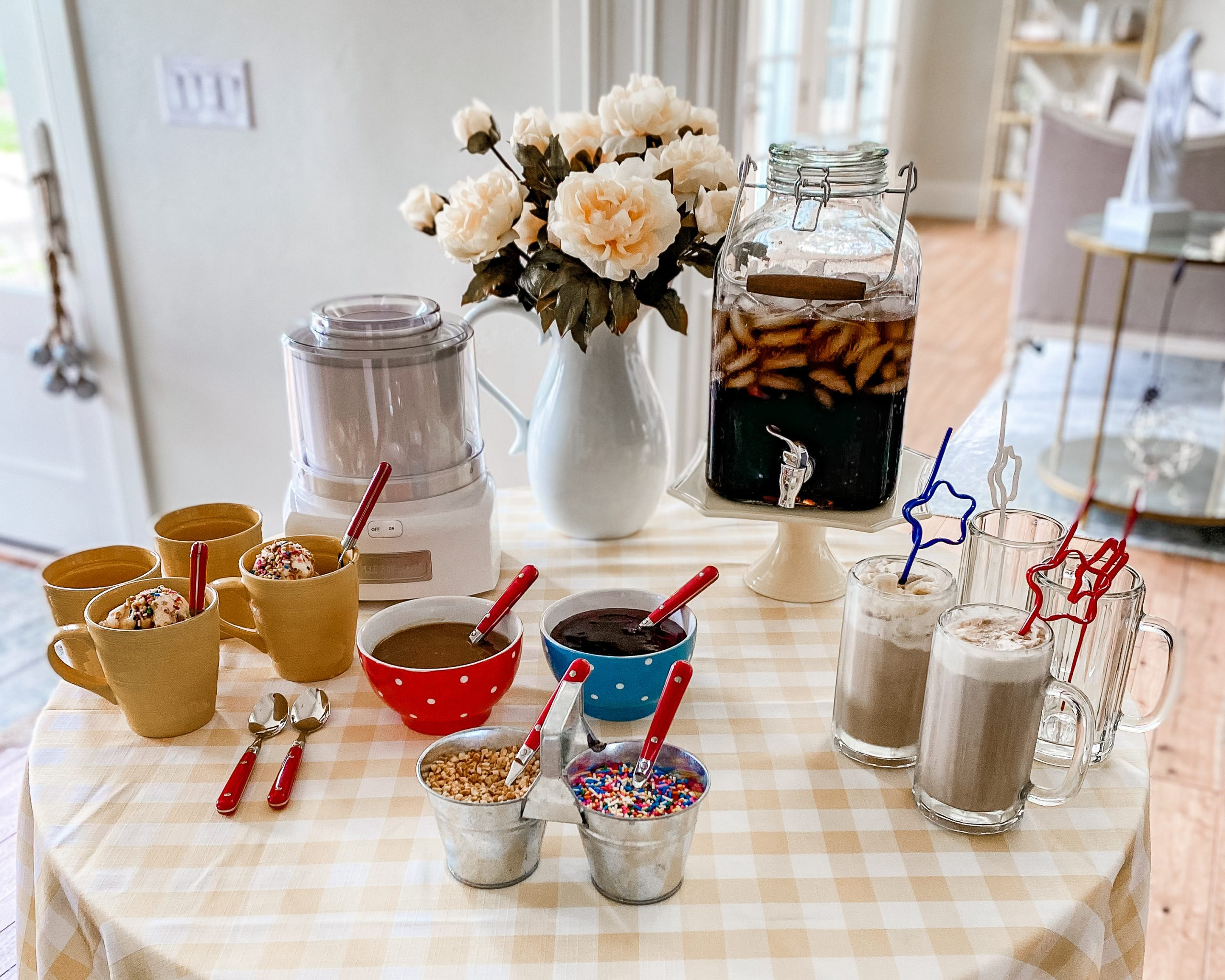 ice cream party dessert table set up