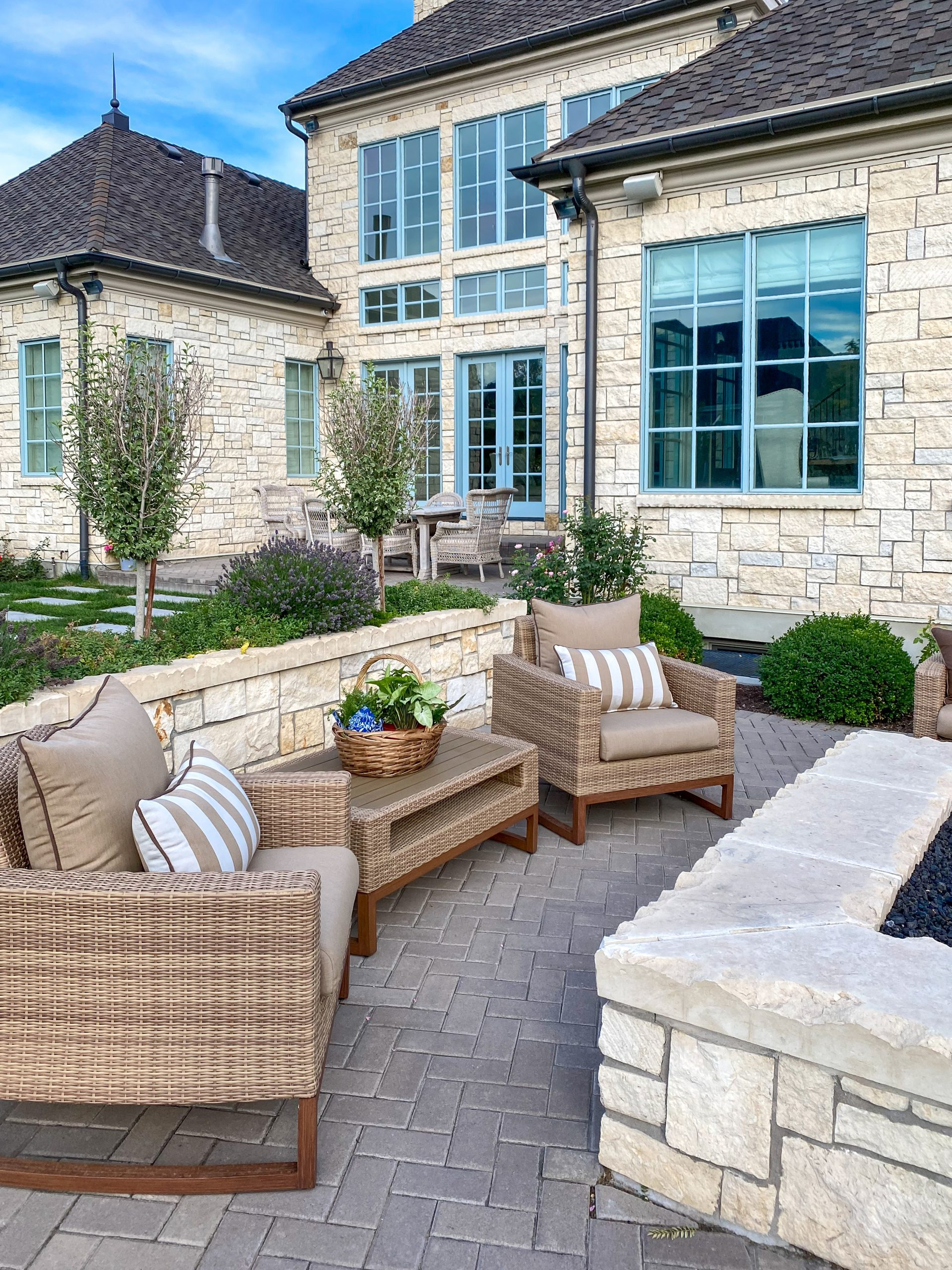 outdoor patio furniture fire pit backyard spaces